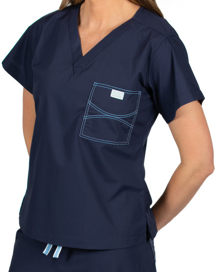 Limited Edition Shelby Scrub Tops - Navy with Ceil Blue Stitching