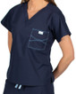Limited Edition Shelby Scrub Tops - Navy with Ceil Blue Stitching - Image Variant_0