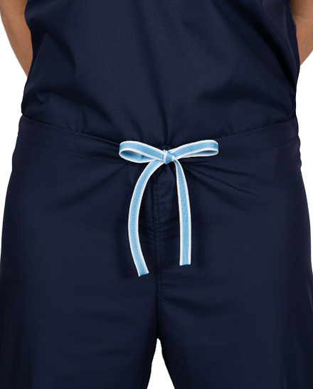 Limited Edition Shelby Scrub Pants - Navy with Ceil Blue Stitching and Ceil Blue/White Tie