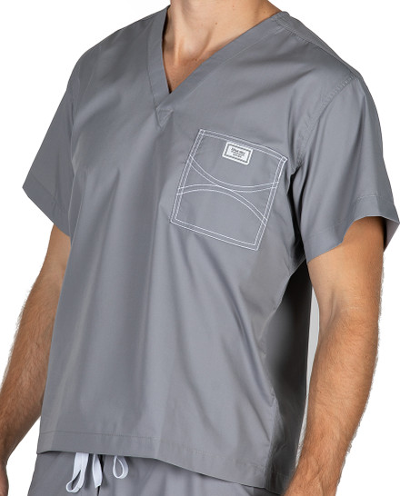 Large Slate Grey David Shelby Scrub Top