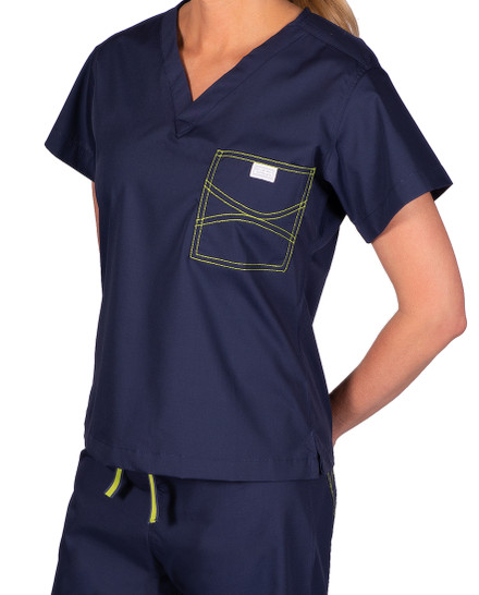 Limited Edition Shelby Scrub Tops - Navy with Lime Green Stitching