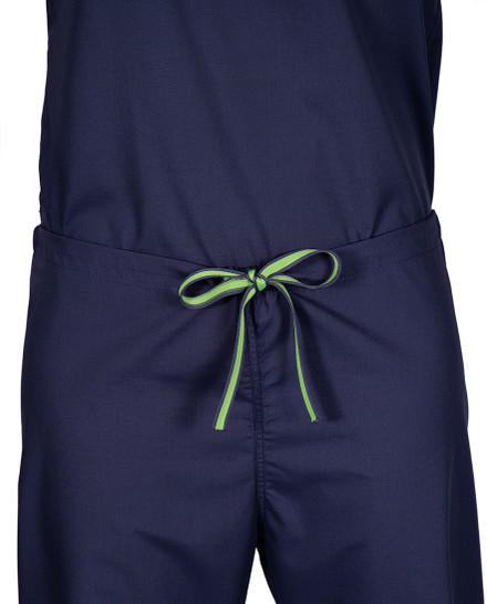 Limited Edition Shelby Scrub Pants - Navy with Lime Green Stitching and Lime/Navy Tie
