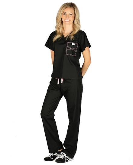 XS Jet Black Shelby Scrub Pants - Light Pink Stitching and Light Pink/Silver Metallic Tie