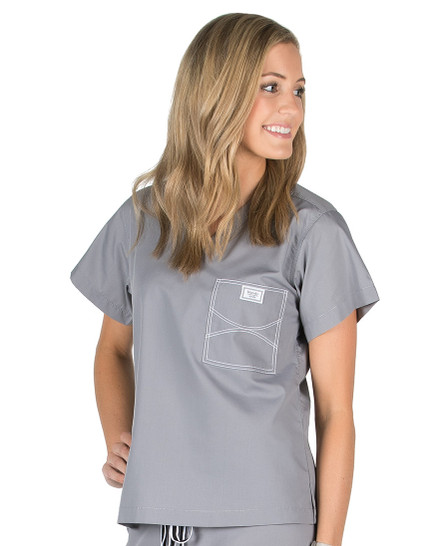 Large Long Slate Grey Shelby Scrub Tops