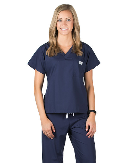 2XL Long Navy Blue Classic Simple Scrub Tops