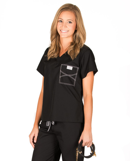 2XL Long Jet Black Classic Shelby Scrub Tops