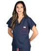 Limited Edition Shelby Scrub Tops - Navy with Red Stitching - Image Variant_2