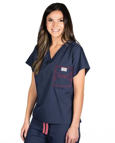 Limited Edition Shelby Scrub Tops - Navy with Red Stitching