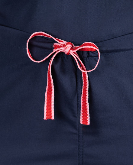 Limited Edition Shelby Scrub Pants - Navy with Red Stitching and Pink/Red Tie