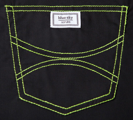XS Long Urban Shelby Triple Pocket Scrub Top - Jet Black with Lime Stitching