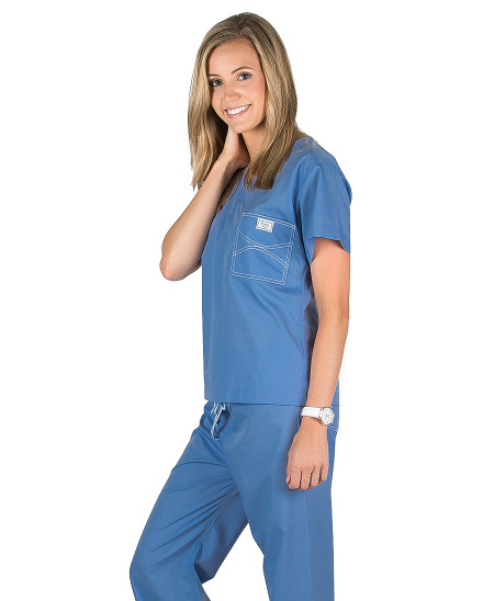 XXS Long Calypso Blue Classic Shelby Scrub Top