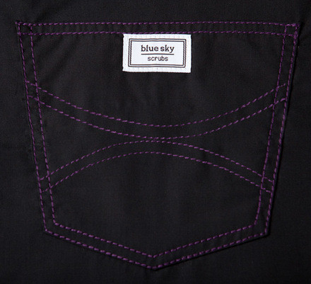 XXS Long Classic Shelby Scrub Top - Jet Black With Purple Stitching