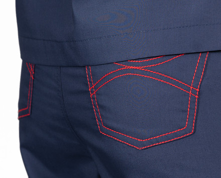 Medium Classic Shelby Scrub Pant - Navy with Red Stitching and Red/White Tie
