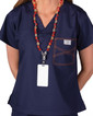 Limited Edition Shelby Scrub Tops - Navy with Tangerine Stitching - Image Variant_1