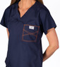 Limited Edition Shelby Scrub Tops - Navy with Tangerine Stitching - Image Variant_0