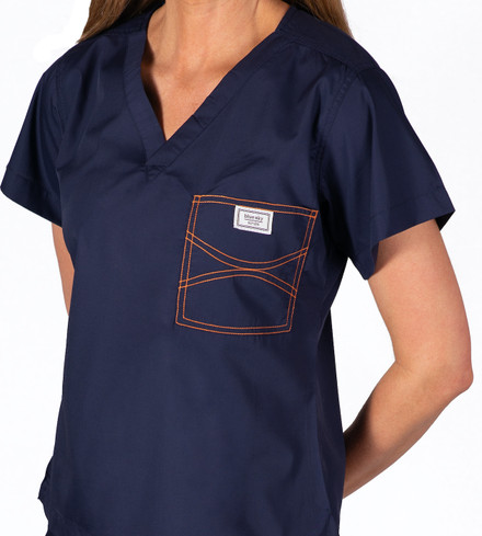 Limited Edition Shelby Scrub Tops - Navy with Tangerine Stitching