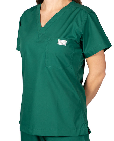 XS Long Pine Green Classic Simple Scrub Top