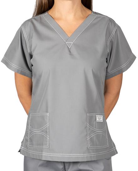 XS Slate Grey Double Pocket - Urban Shelby Scrub Top