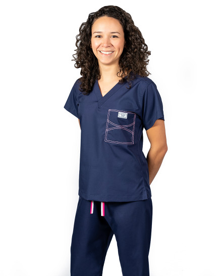 Limited Edition Shelby Scrub Tops - Navy with Light Pink Stitching