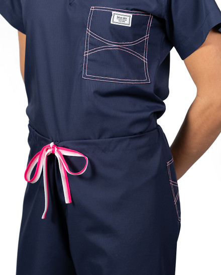 Limited Edition Shelby Scrub Pants - Navy with Light Pink Stitching and Pink Ombre Tie