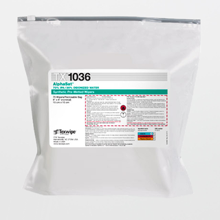 """TX1036 AlphaSat 6"""" x 6"""" Polyester Cleanroom Wiper Pre-Wetted 70% IPA"""