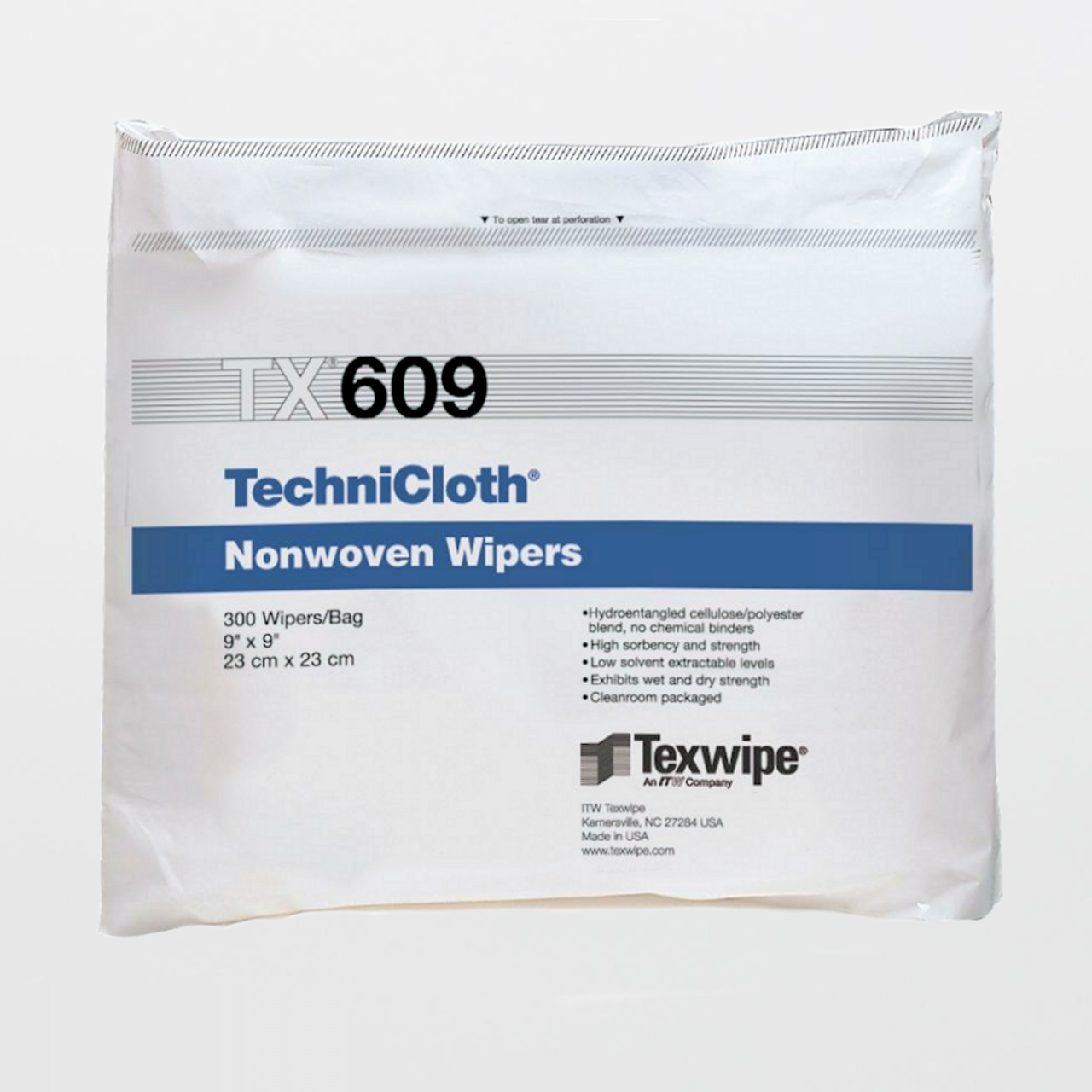 """TX609 TEXWIPE TechniCloth 9/"""" x 9/"""" Cellulose and Polyester Cleanroom Wiper"""