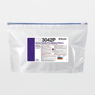 "TX3042P Sterile Vertex 12"" x 12"" Polyester Sealed Edge Wiper Pre-Wetted 70% IPA"