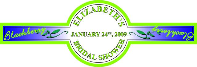 really good custom label for elizabeth's bridal shower
