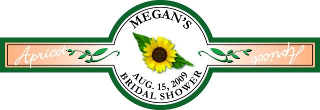 really good custom label formegan's bridal shower
