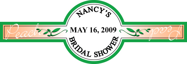 really good custom label for Nancy's bridal shower