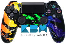 Rainbow Splatter Custom PS4 Controller