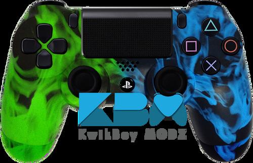 Custom Green Blue Inferno PS4 Controller