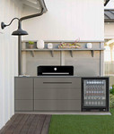 Artusi Black Kitchen BBQ + Euro 1 Door Fridge + Sideburner