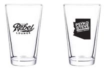 The Rebel Lounge + Psyko Steve Presents pint glass