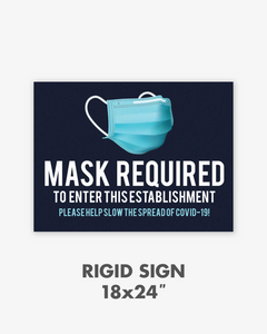 "Mask Required Rigid PVC Sign - 24""x18"""