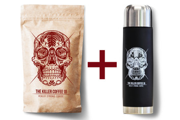Killer Coffee +  Black Killer Bullet Flask - FREE shipping
