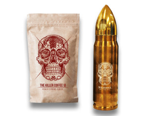Killer Coffee +  Bronze  Killer Bullet Flask - FREE shipping