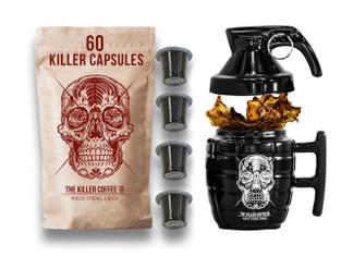 60 Killer Nespresso Compatible* Capsules + Killer Grenade Mug