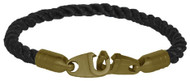 Brass Bails & Clasp, BLK Rope Single Large