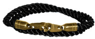 Brass Bails & Clasp, BLK Rope DBL Med