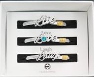 Live Love Laugh Hook Bracelets 3 Unit Box Set 4mm