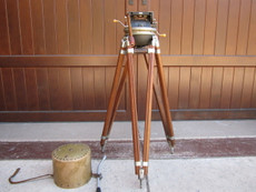 Akeley Gyro Geared Head & Wood Tripod for 35mm Movie Camera_