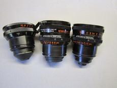 Cooke Kinetal Taylor Hobson Arriflex Mount Lens Set - 9mm, 25mm, 50mm