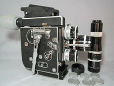 Bolex Rex-5 16mm Movie Camera + 4 Kern Switar C-Mount  Lenses (16mm, 25mm, 75mm, 150mm)