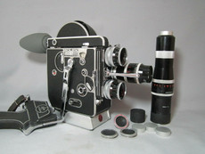 STUNNING Super-16 Bolex Movie Camera Package (Kern 16mm, 25mm, 75mm, 150mm C-Mount Lenses)