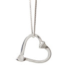 Sterling silver double horseshoe nail heart necklace
