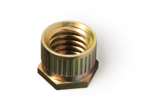 Steel threaded stud hole inserts for aluminium shoes