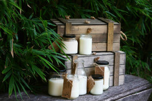 Rustic candles available in small, medium and large.