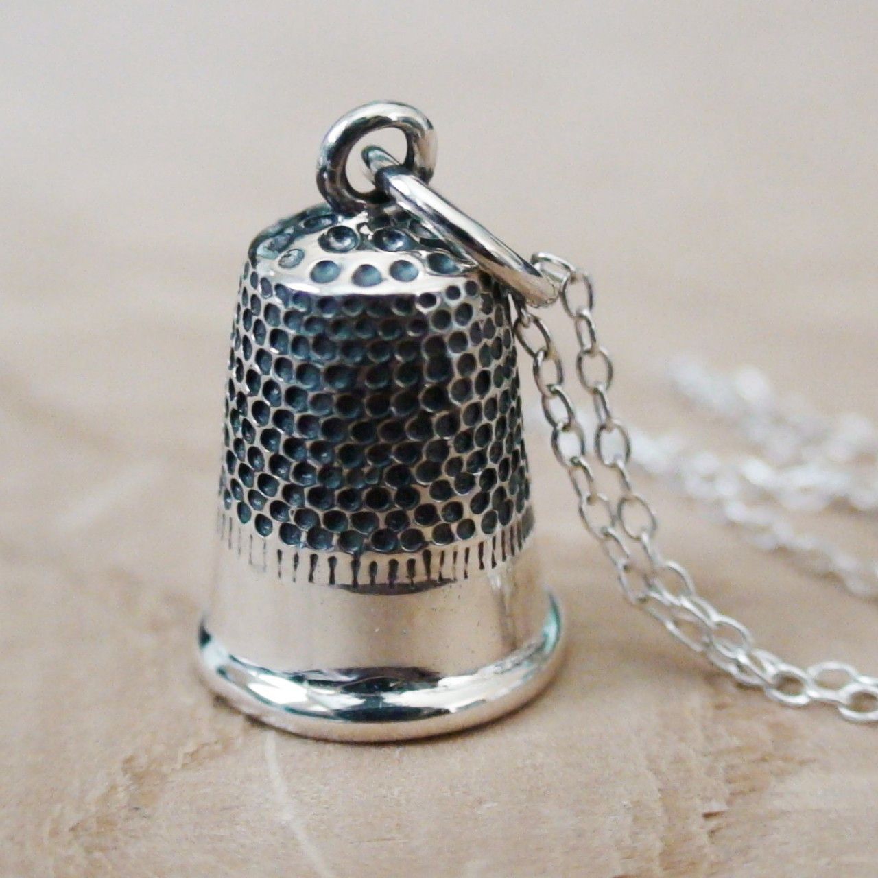 Thimble Sterling Silver Charm Necklace