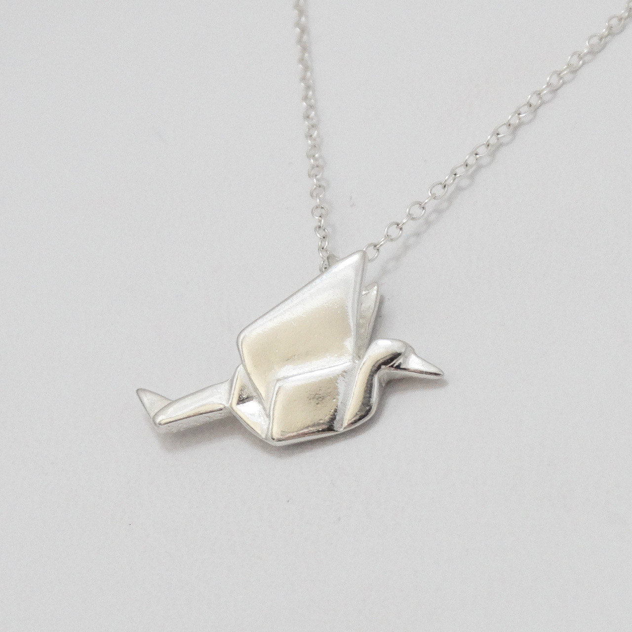 Sterling Silver Origami Crane Charm Necklace - photo#42